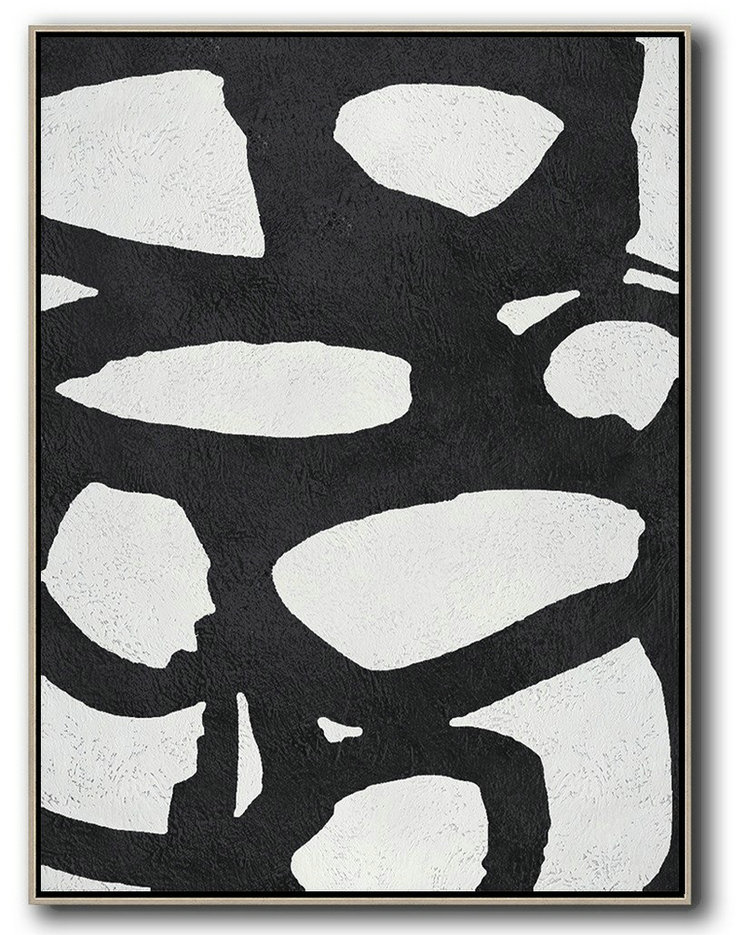Black And White Minimal Painting On Canvas,Acrylic Minimailist Painting #R0L6